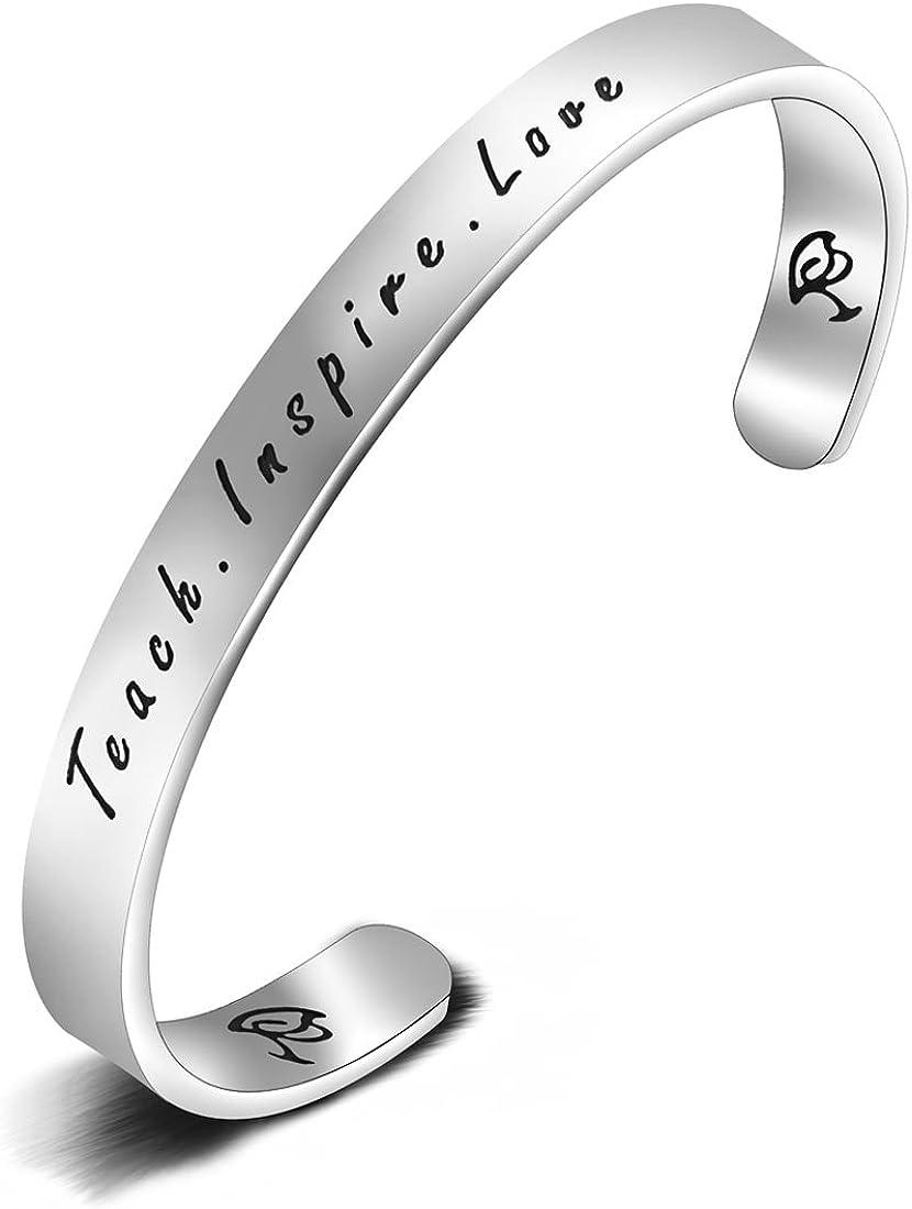 Zisei Teacher Appreciation Gifts Bracelet Love Teach Max 82% OFF Max 41% OFF Inspire Cuf