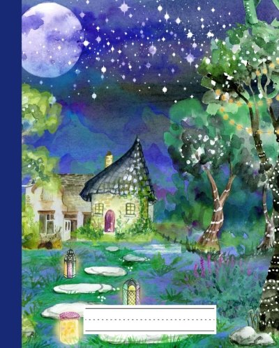 Fairy Cottage Lights - Primary Composition Notebook: Story Journal Paper | Picture Space & Dashed Mid Line: School Exercise Book Grades K-2: 8x10 in. | 60 Sheets - 120 Pages
