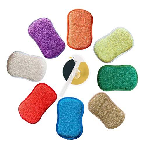 antibactérien en microfibre de cuisine de tampons à récurer double face éponges grattante non Odor Brosse à plat antiadhésif, idéal pour poêles Pots, Lot de 5 couleurs aléatoires