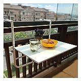 LIANGLIANG Mesa Colgante Plegable para Balcón,Exterior Balcón Barandilla Plataforma Mesa con 4 Ajustable Alturas Ahorro de Espacio Retirable Café Mesas para Terrazas,Jardín (Color : White)