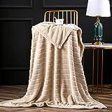 Bertte Ultra Velvet Plush Super Soft Decorative Stripe Throw Blanket (XL-Throw(50'x70'), Light Beige)