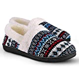 Homitem Women's Slip-On Knit Slippers Memory Foam Slippers Fuzzy Wool-Like Plush Fleece Lined House Shoes Indoor\/Outdoor Anti-Skid Rubber Sole Dark Blue
