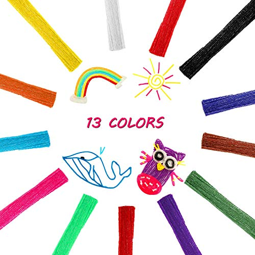Outus Monkey String Wax Yarn Sticks Sticky Bendable Wax Craft Sticks Molding Sculpting Sticks 13 Colors DIY Handmade Crafts for School Project (800 Pieces)