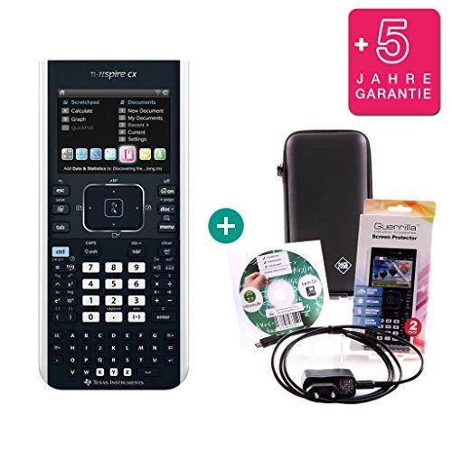 Streberpaket: TI-Nspire CX + Erweiterte Garantie + Ladekabel + Schutzfolie + Lern-CD + Schutztasche