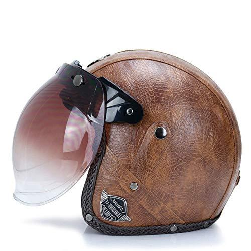 MYSdd Vintage Cabrio Motorradhelm PU Leder 3/4 offenen Helm mit Brille Maske Abnehmbarer Krempe Quick Buckle abnehmbare Futter - 7b X XXL