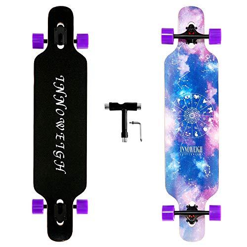 INNOWEIGH 41 Inch Longboard Skateboard Starry Sky Through Freestyle Longboard