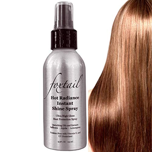 FOXTAIL Hot Radiance Instant Shine Spray - Advanced Heat Shield for Flat Irons and Heat Styling; Smooths & Seals Hair Cuticle; UV Protection with Vitamin E; Paraben Free & Cruelty Free; 4.5 Fl Oz