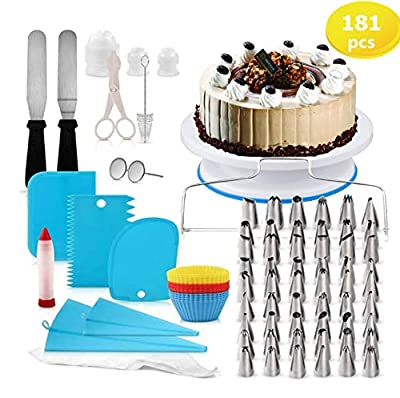 Cake Decorating Kit 181 Pcs,Baking Supplies Tools With Cake Turntable Icing SpatulaCake Spatula,Icing Piping Kit For Beginners?100 Icing Bags??Cake Spinner (181PC)