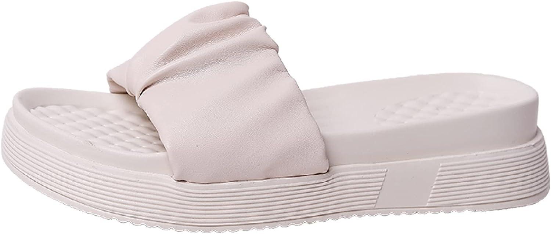 Btrada Women's Platform Slide Slippers Comfort Open Toe Slip On Flat Sandals Casual Nonslip Home Slides Outdoor Beach Shoes