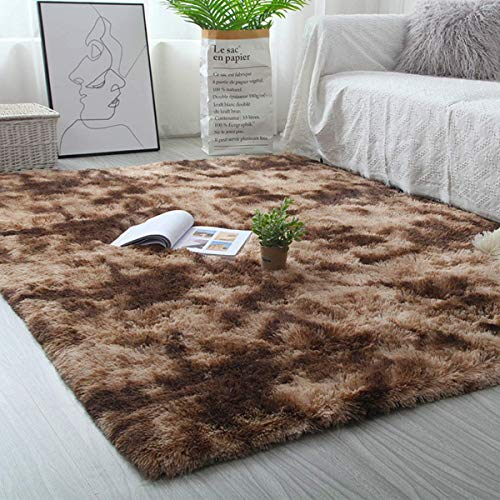 Leesentec Teppich Wohnzimmer Teppiche Schlafzimmer Modern Hochflor Antirutschmatte Teppich Weiche Fußmatten Groß für Flur Teppich Anti Rutsch Unterlage (Braun, 160*230cm)