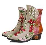 YAOHEL Inverno Casual Caldi Stivaletti Scarpe,Donna Stivaletti in Pelle,Colorato Vintage Boots con Cerniera,Beige,39