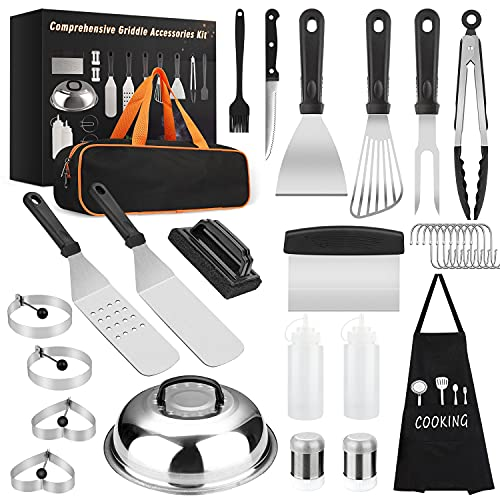 Yekale Griddle Accessories Kit, 31 Pcs Griddle Grill Tools Set for Blackstone and Camp Chef, Professional Grill BBQ Spatula Set with Basting Cover, Spatula, Scraper, Bottle, Tongs, Egg Ring