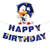 Popular Video Game Sonic the Hedgehog Happy Birthday Banner and Sonic Balloon- Video Game Party Supplies Happy Birthday Bunting Garland for Boys Kids Player Geeks Gaming Themed Birthday Party Decorations
