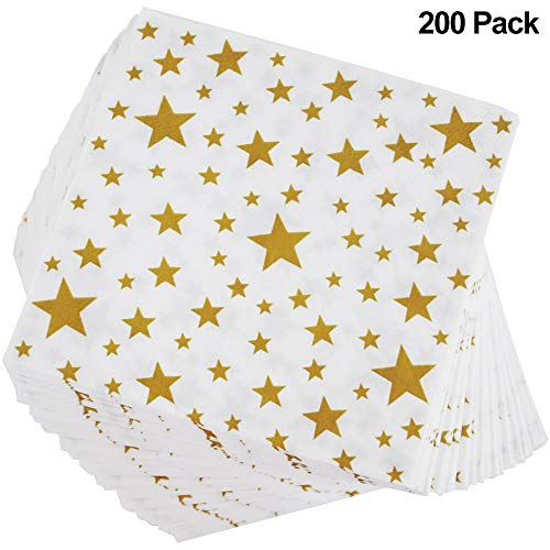 Gold 39x39 cm, x50 A Set of Christmas Theme Paper Napkins 100/% Biodegradable and Recyclable Double Point Cotton Wadding