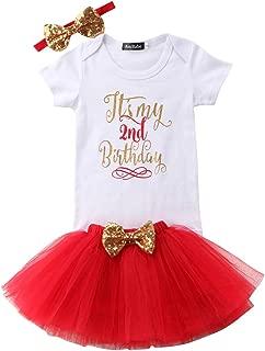 Girls'It's My Birthday Print Shirt Tutu Skirt Dress Outfit Set (Z-Red 2, 2T)