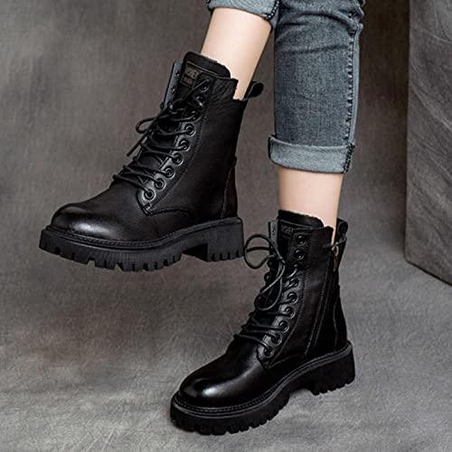 ZXCN 2021 Autunno Black Platform Donne Stivaletti Donne Moda Confortevole Lace Up Fibbia Stivali Invernali per Le Donne in Pelle