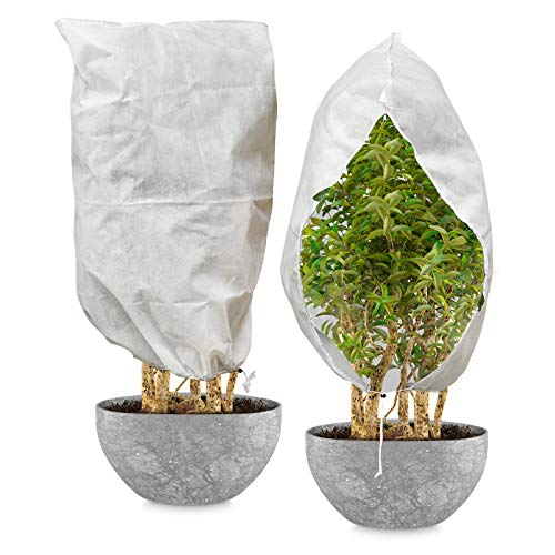 MECO Plant Covers Freeze Protection with Zipper 2.4oz 47'' x 70'' Upgraded Thickness Shrub Cover, Winter Frost Cover Anti-Freeze Jacket Warm Blanket for Season Extension, Frost Protection (2 Pack)