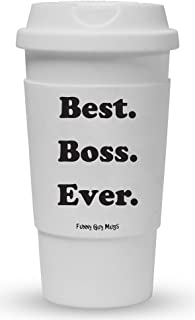 Funny Guy Mugs Best Boss Ever Travel Tumbler With Removable Insulated Silicone Sleeve, White, 16-Ounce