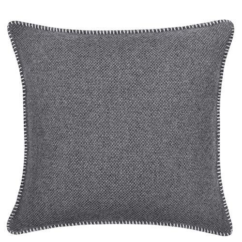 Must Stitch Too-Kissenbezug – mit Häkelstich – edle, weiche Sofa-Kissenhülle aus reiner Schurwolle – 40x40 cm – 010 offwhite – von 'zoeppritz since 1828'