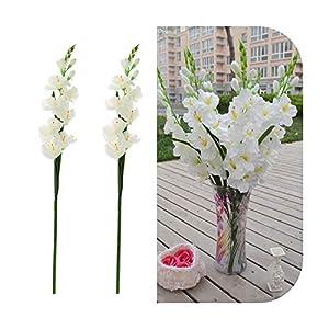 Silk Flower Arrangements Funlife-Shop 2Pcs Artificial Flowers Silk Gladiolus Flowers with Stem for Flower Arrangement Wedding Home DIY Decor