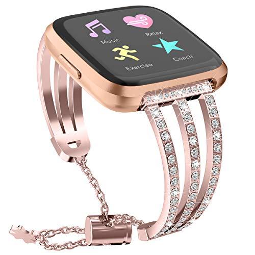 Miya Armband für Fitbit Versa 2, Frauen Mädchen Einstellbar Metall Ersatzarmband Armbänder Band Zubehör für Fitbit Versa 2/Fitbit Versa/Fitbit Versa Lite (Roségold)