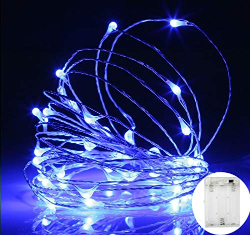 MSC - 33 ft / 10M - 100 * LED Battery Powered Blue Coloured String Fairy Lights On Copper Cable with Light Effects, Ideal for Christmas, Xmas, Party,Wedding,Decoration Batt-Blue-NoWp1