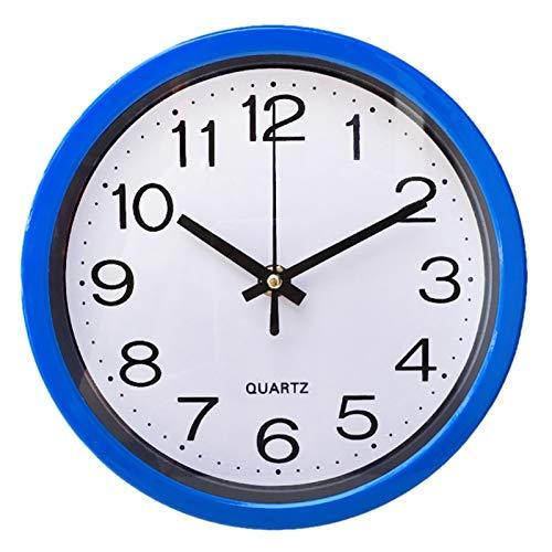 LIANYG Decorativa de plástico de 8 Pulgadas Modernos Sala de Cuarzo Ronda habitación silenciosa con Pilas de Hora Local exacta Pared de la Manera Reloj de la Oficina Reloj de Pared 554 (Color : Blue)
