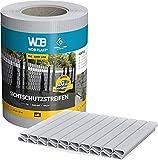 WDB Basic Line PVC Sichtschutzstreifen für Doppelstabmatten - PVC Sichtschutz für Gartenzaun & Doppelstabmattenzaun - 35m x 19cm + 20 Stück Befestigungsclips Klemmschienen (Grau - RAL 7040)