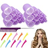 Jumbo Hair Rollers Hair Curlers. 2.2 inch Large Self Grip Hair Curlers for Long Hair, Big Hair Rollers for Long Hair. No heat Curlers Hair Hair Rollers with Clips & Comb.24 Pack