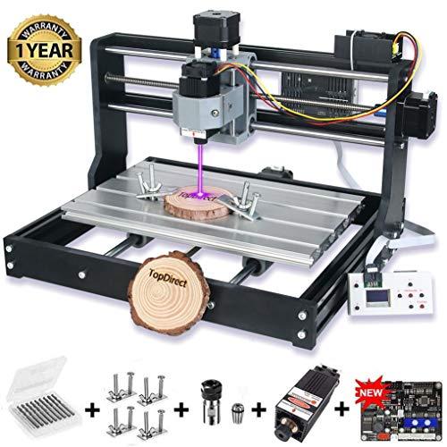 CNC 3018 Pro Fräsmaschine mit 5.5W Lasermodul, Arbeitsbereich: 300 * 180 * 45mm, GRBL Control 3 Achsen Mini DIY Holz Router CNC Graviermaschine mit Offline Controller + ER11 + 5mm Verlängerungsstange