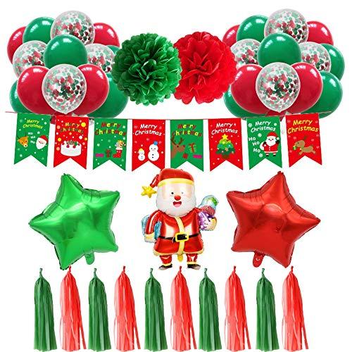 Xnuoyo Decoraciones Navideñas, Kit de Globos de Decoraciones Navideñas, Globo de Aluminio, Globo de látex, Flor de Papel, Globos de Fiesta Temática de Navidad Decoración