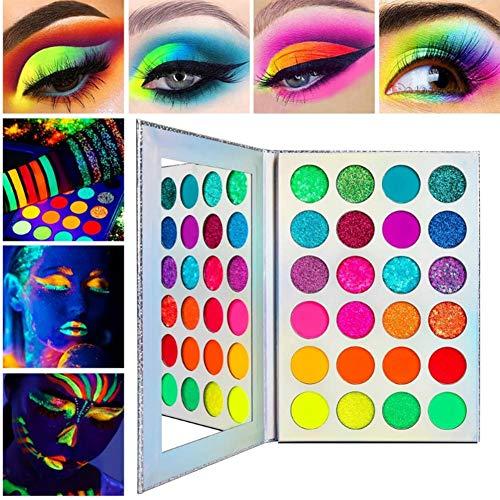 24 Farben Glow Eyeshadow Palette,Neon Bunte Lidschatten-Palette Glitter Matte UV-Schwarzlicht...