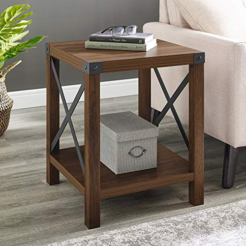 Walker Edison Rustic Farmhouse Round Metal and Wood Side Accent Living Room Small End Table, 18 Inch, Dark Walnut