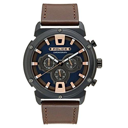 Police Herren Chronograph Quarz Uhr mit Leder Armband 15047JSB/03