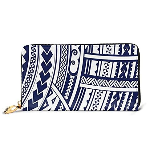 Cartera de piel estampada con estampado tribal maorí polinesio azul, para mujer, con cremallera alrededor de la cartera, cartera de embrague y organizador de tarjetas, Negro, Talla unica