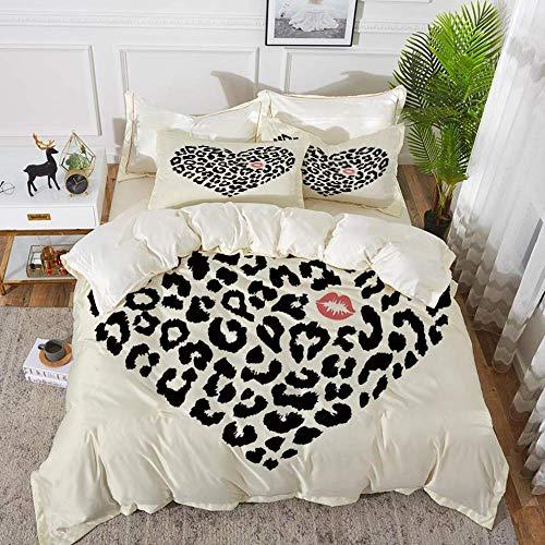 ropa de cama - Juego de funda nórdica, beso, patrón de piel de leopardo salvaje en forma de corazón y marca de beso Día de San Valentín Luna de miel en diciembre, juego de funda nórdica de microfibra