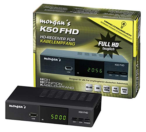 Morgan`s K50 FHD digitaler Full HD Kabel-Receiver - USB Aufnahme Funktion & Timeshift, Umstieg Analog auf Digital, (HDTV, DVB-C / C2, HDMI, Scart, Mediaplayer, USB, 1080p), [automatische Installation]