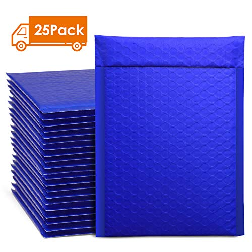Metronic 25pcs Poly Bubble Mailers 6x10 Inch Padded Envelopes #0 Bubble Lined Poly Mailer Self Seal Blue