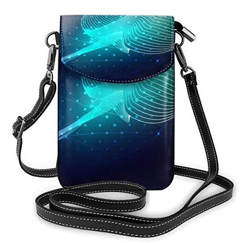 Cartera Multiusos del Bolso de Hombro del Monedero pequeño del teléfono Celular de la Moda compuesta de Pescado Azul calambre