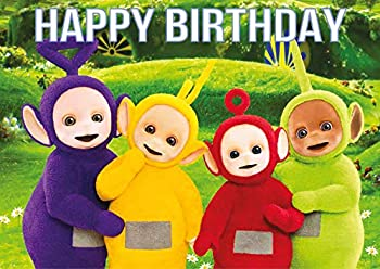 8.3 x 11.7 Inch Edible Square Cake Toppers – Teletubbies Themed Birthday Party Collection of Edible Cake Decorations