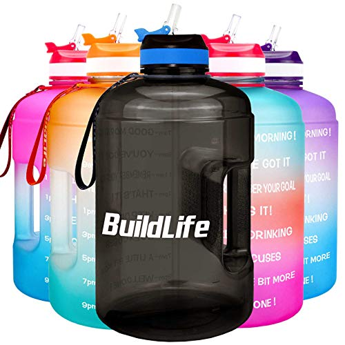 BuildLife Gallon Motivational Water Bottle with Time Marked to Drink More Daily - BPA Free Reusable Gym Sports Outdoor Large 128oz Capacity(Black, 1 Gallon)