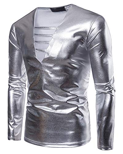 Mengmiao Uomo Manica Lunghe Slim Fit Halloween Cosplay Disco Dance Party Costume Argento L