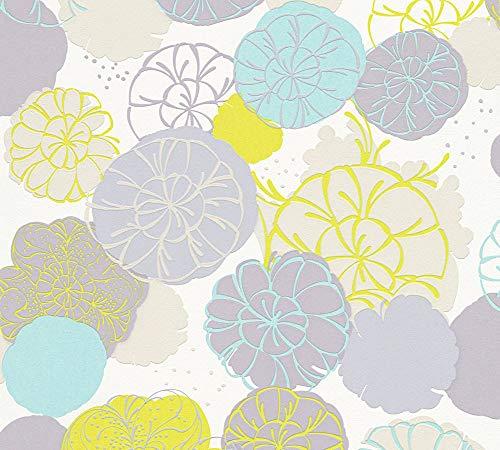 Esprit Vliestapete Dream of Spring Tapete mit Blumen floral 10,05 m x 0,53 m blau grau grün Made in Germany 327631 32763-1