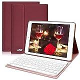 COO Funda Teclado Bluetooth iPad 9,7, Cubierta Ultraliviano con Teclado Español Desmontable Inalámbrico para iPad 9,7 2017/iPad 2018/iPad Pro 9,7/iPad Air 2/1 con Soporte Multiángulo (Vino rojo)