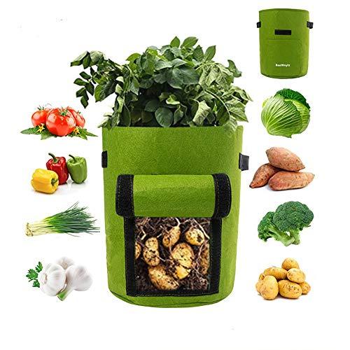 BaoWnylz 2 Stück Pflanzsack Kartoffel, 10 Gallons Pflanztaschen-Aus Vliesstoff,Visual Window/Handle, Pflanzenwachstumstaschen für Kartoffeln,Tomaten, Erdbeeren usw (Grün)