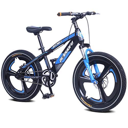 YAOXI Mountain Bike con Forcella Sospensione Individuale velocità Bicicletta Sistema di Freno A Doppio Disco Bici per Bambini, Ragazzi Ragazze Mountain Bike Realizzato,Blu,18Inch