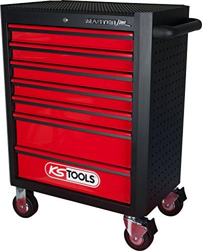 KS Tools 876.0007 MASTERline Werkstattwagen,mit 7 Schubladen schwarz/rot