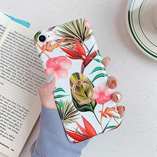 Herbests Kompatibel mit iPhone 7 / iPhone 8 4.7 Hülle Silikon Handyhülle Mode Blätter Blumen Muster Ultra Dünn TPU Silikon Handytasche Crystal Case Schutzhülle mit Ring Ständer Halter,Rosa Blumen