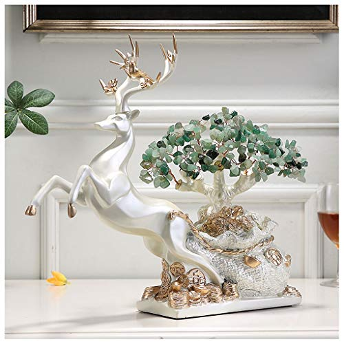 LJXLXY Crystal Tree Crystal Tree Blue Lucky Deer Money Tree Healthy Prosperity Spirit Gift Energy Feng Shui Home Dining Table Decoration 12.9 Inches (Four Colors) Feng Shui Ornaments (Color : D)