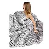 Manta para sofá de lana tejida con punto gigante (gris), de Winomo